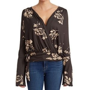 Free People Floral Bell Sleeve Wrap Top XS